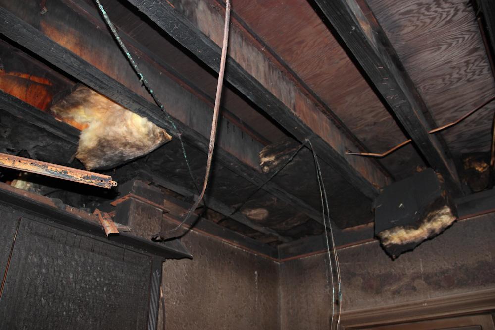 burnt ceiling beams